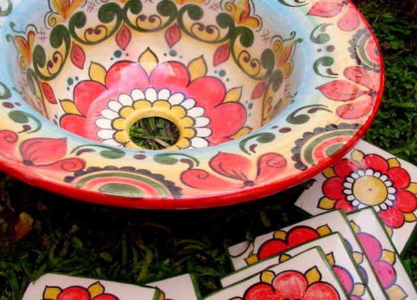 bachas: mix de estilos. - vajilla estilo mexicana | platos ... - Bachas Para Bano Pintadas A Mano