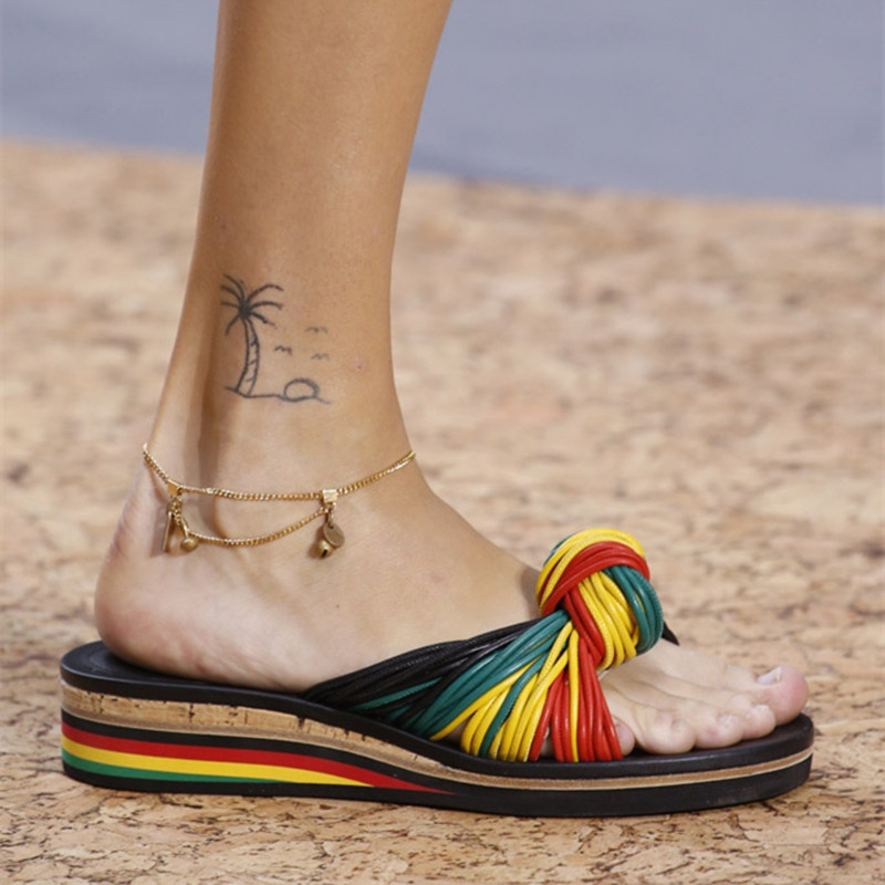 89.13$  Buy here  - Knot Platform JAMAICA Wedge Slippers Jody Mixed Color Rainbow Sandals brand Casual Shoes Woman Beach Street Style Summer Shoes