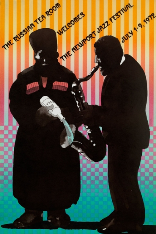 Poster by Milton Glaser, 1972, Russian Tea Room, Newport Jazz Festival.