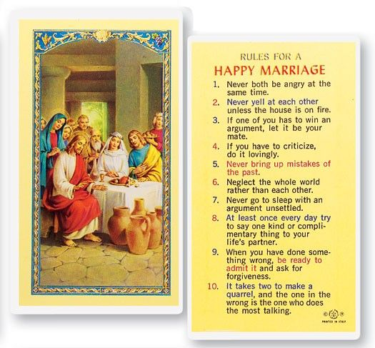 Rules For A Hy Marriage Laminated Prayer Cards 25 Pack Full Color
