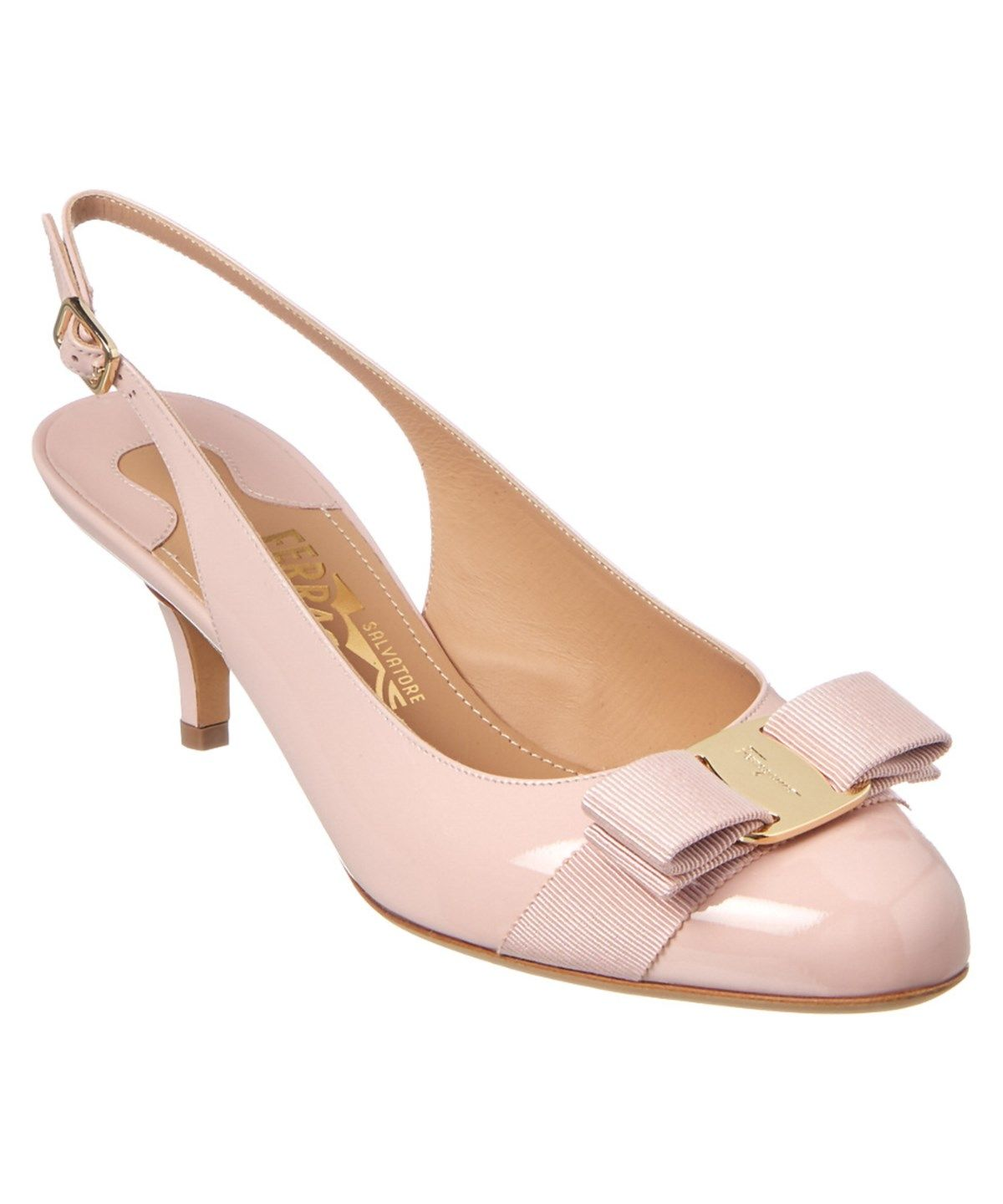 SALVATORE FERRAGAMO SALVATORE FERRAGAMO PATENT SLINGBACK KITTEN HEEL PUMP'. #salvatoreferragamo #shoes #pumps & high heels