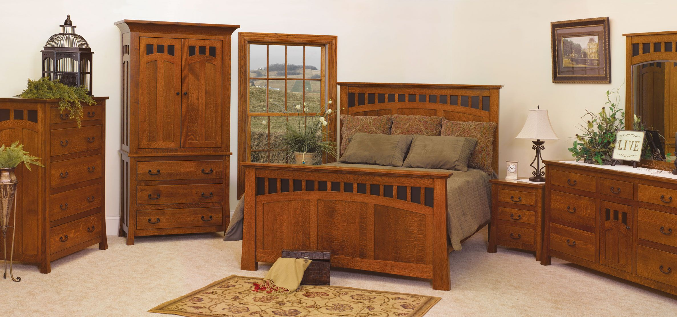 Mission style bedroom furniture collection. I really like the head board and dresser. Does anybody know who makes this line?