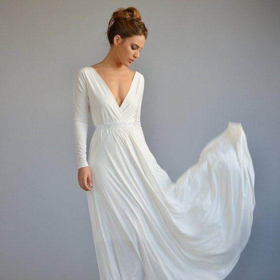 Simple wedding dress floor length, boho wedding dress, long