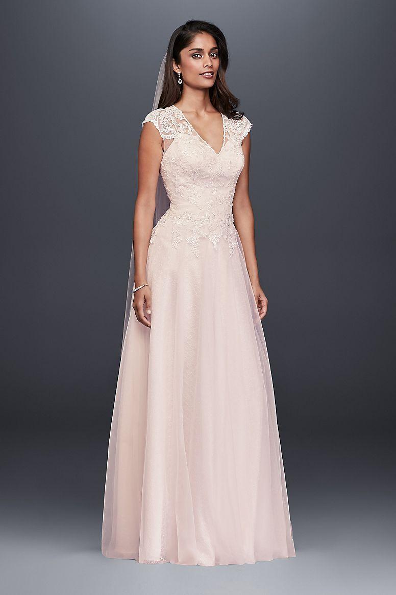 Tulleoverlace vneck ball gown wedding dress davidus bridal