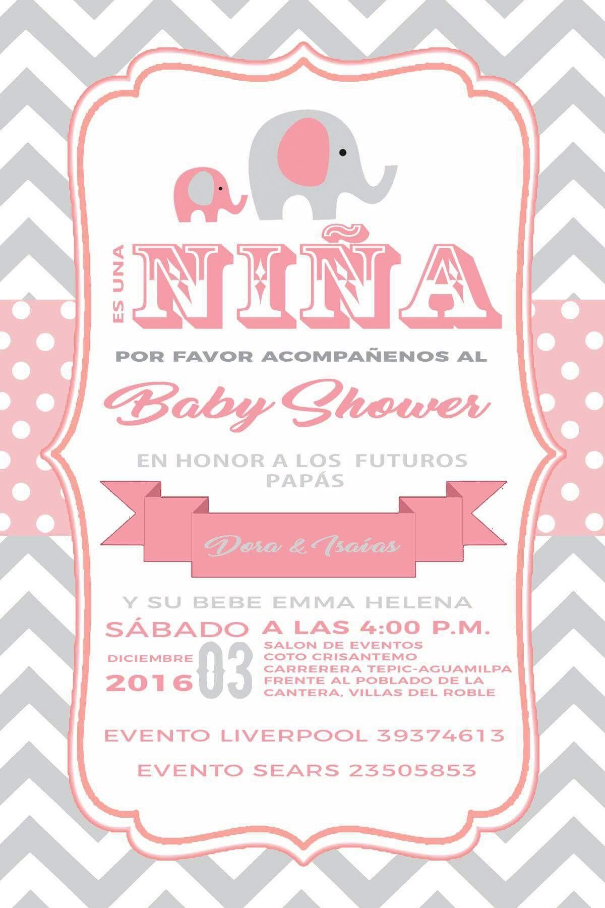 Invitacion Baby Shower Elefante Rosa