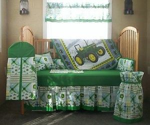 10 Pc John Deere Green Plaid Baby Quilt Set Crib Nursery Bedding 3 And