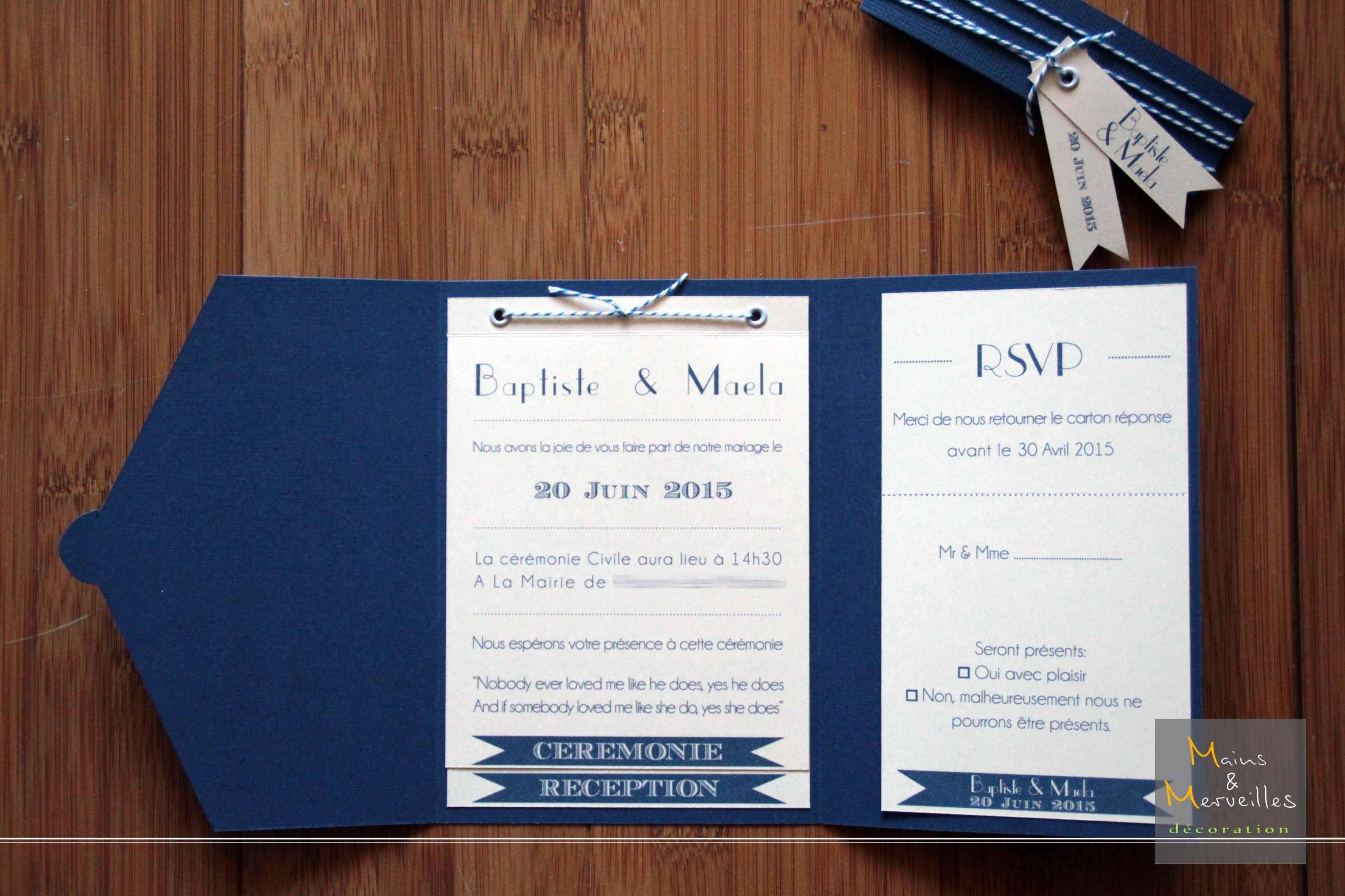 Assez Faire part mariage bleu marine et rose - Modèle de lettre DL67