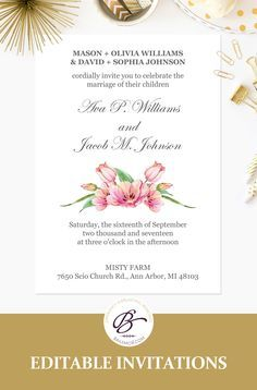 Pink floral wedding invitation template printable wedding pink floral wedding invitation template printable wedding invitations editable invite with tulip design pdf template fpk 06 stopboris Choice Image