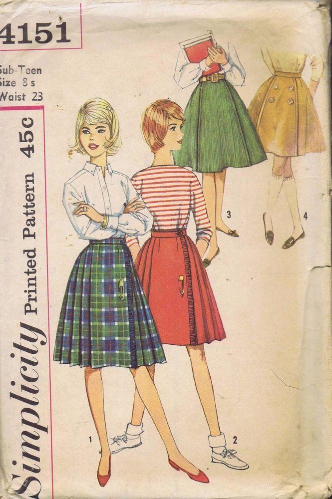Girls Pleated Kilt Skirt Sewing Pattern Simplicity 4151 Sz 8 Bust 26 ...
