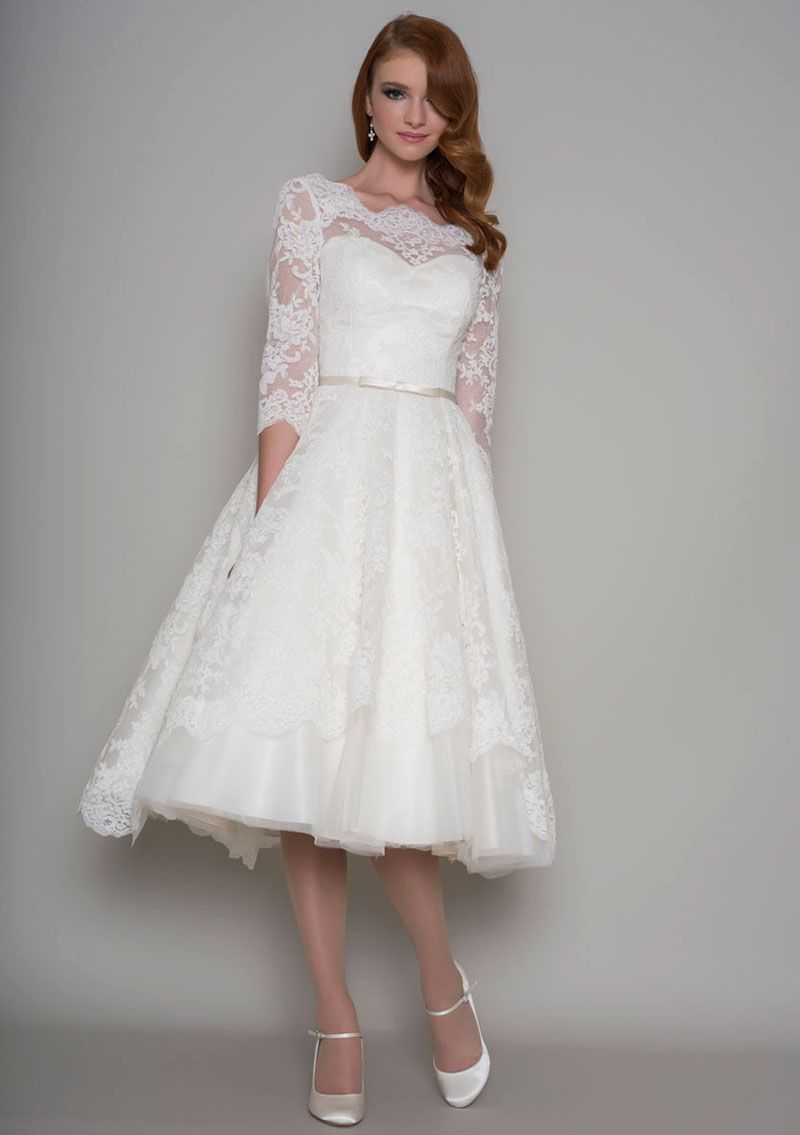 Short Elegant Illusion Lace Sleeve Tea Length Wedding Dress in