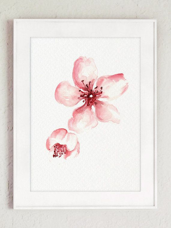 cherry blossom art print pink floral poster shabby chic home decor