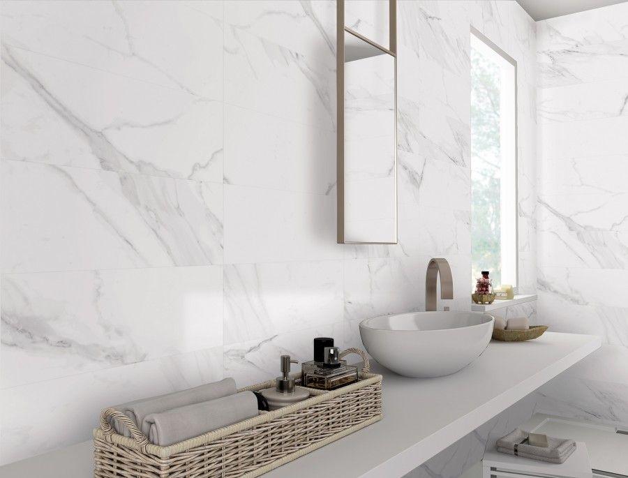 White Marble Effect Matt Porcelain Wall And Floor Tile Bathroom