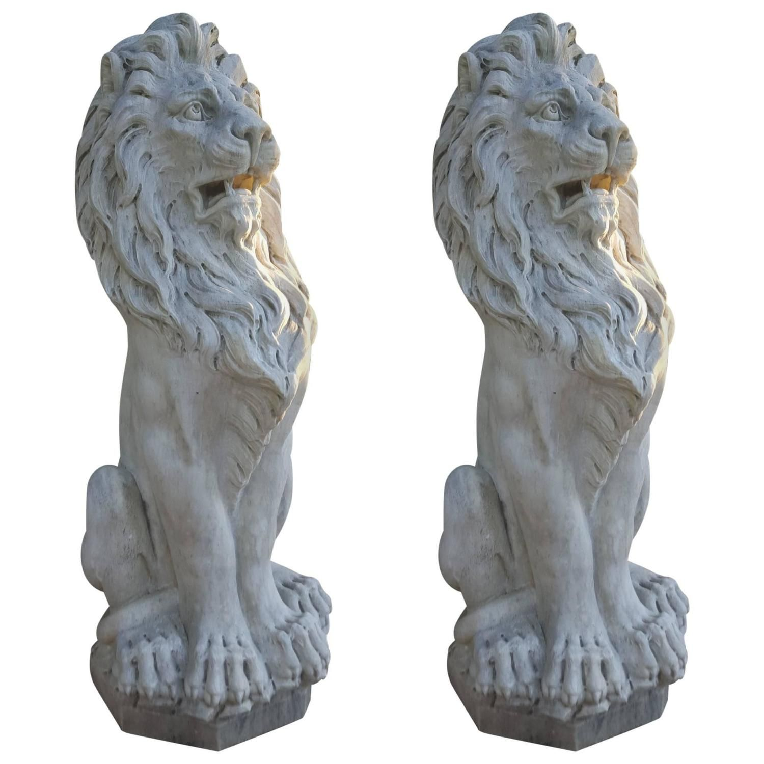 Lion Statue Pair Stone Hand Carved Sitting Entry Gate