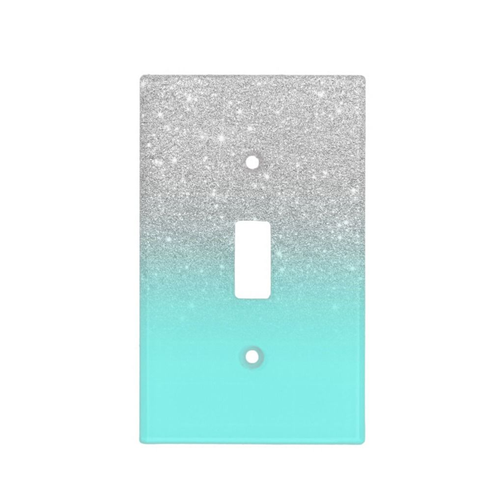 The Glittery World Of Silver Bedroom Ideas: Modern Silver Glitter Ombre Teal Ocean Light Switch Cover