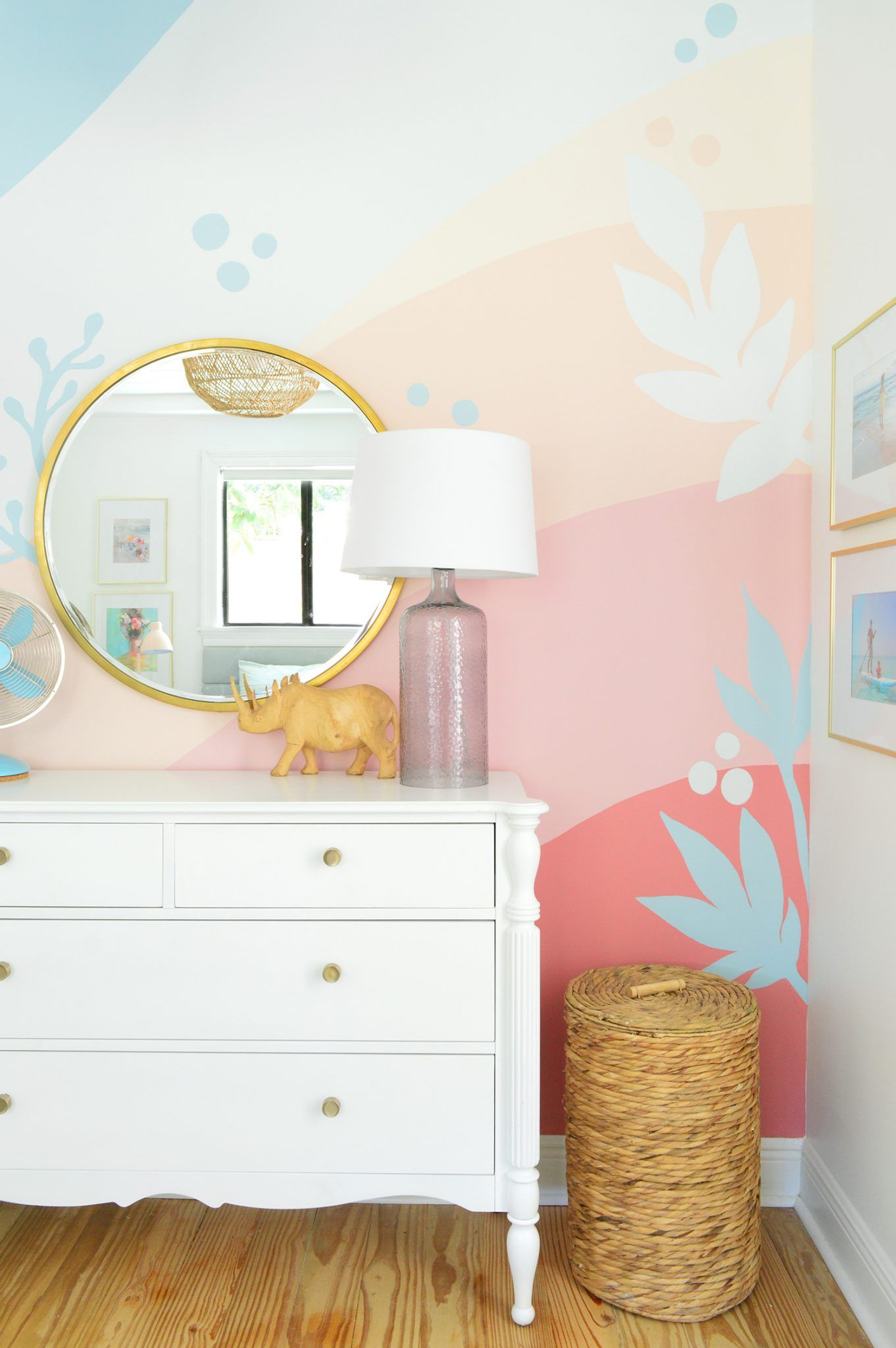 How We Painted A Colorful Abstract Wall Mural Updated Young House Love Girl Bedroom Walls Kids Room Murals Bedroom Wall Colors