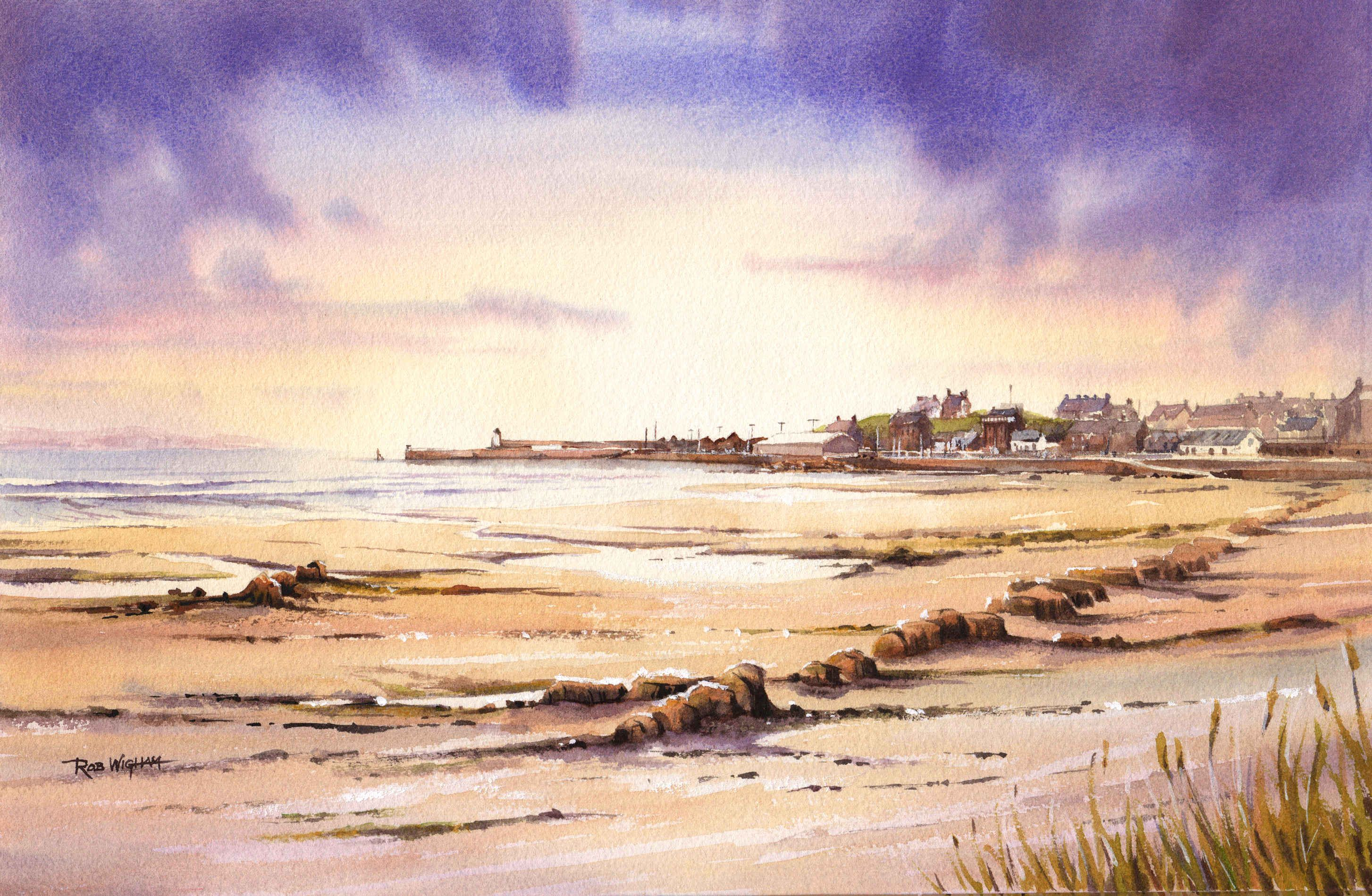 Sunrise Over Burghead Artwork Abstract Painting
