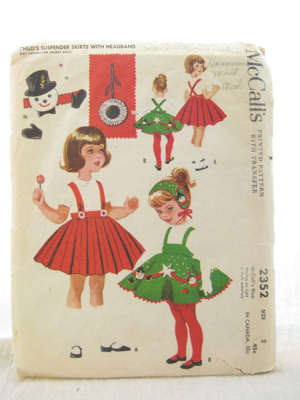 McCalls 2352 Toddler Christmas Dress Suspender Skirt Pattern. $15.00 ...