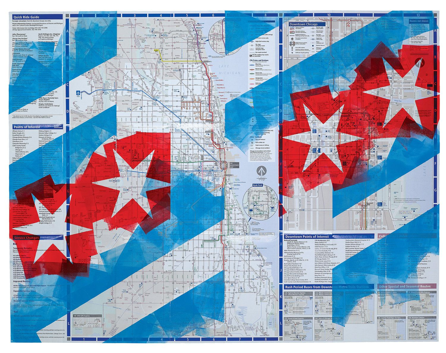 Chicago Flag On Cta Map Chicago Map Wall Art Pride For The Person Who Has Everything Chicago Flag Art Wall Art