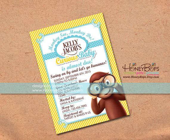 Curious george invitation baby shower or birthday by honeybops curious george invitation baby shower or birthday by honeybops 1695 curious george monkey filmwisefo Image collections