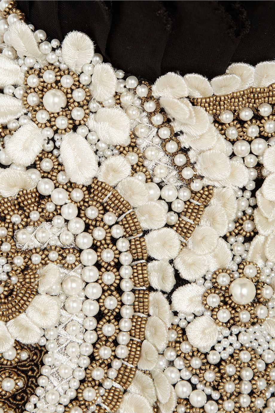 Alexander McQueen   Faux pearl and bead-embellished cotton harness ...