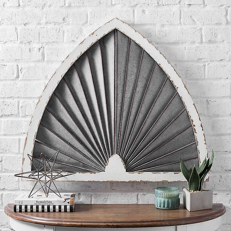 Fanned Wood And Galvanized Arch Wall Plaque With Images Wall