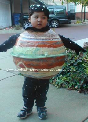 homemade planet jupiter diy costume with skinny ring my son told his teacher that he wanted to be planet jupiter for halloween