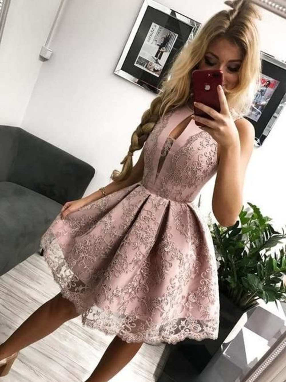 Light Pink Homecoming Dresses,Lace Sleeveless Homecoming Dress,Appliques Homecoming School Dance Dress