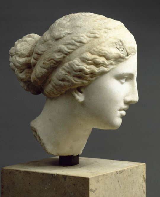 Marble Female Head Copied From The Aphrodite Of Knidos By