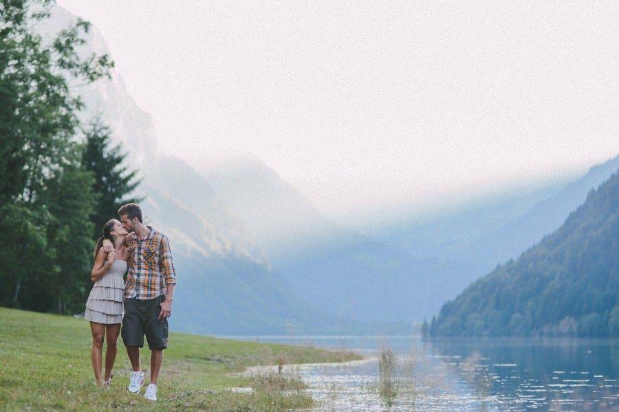 Engagement session around the swiss mountain lake Klöntalersee by  Pascal Landert | Documentary Wedding Photographer | pascallandert.com