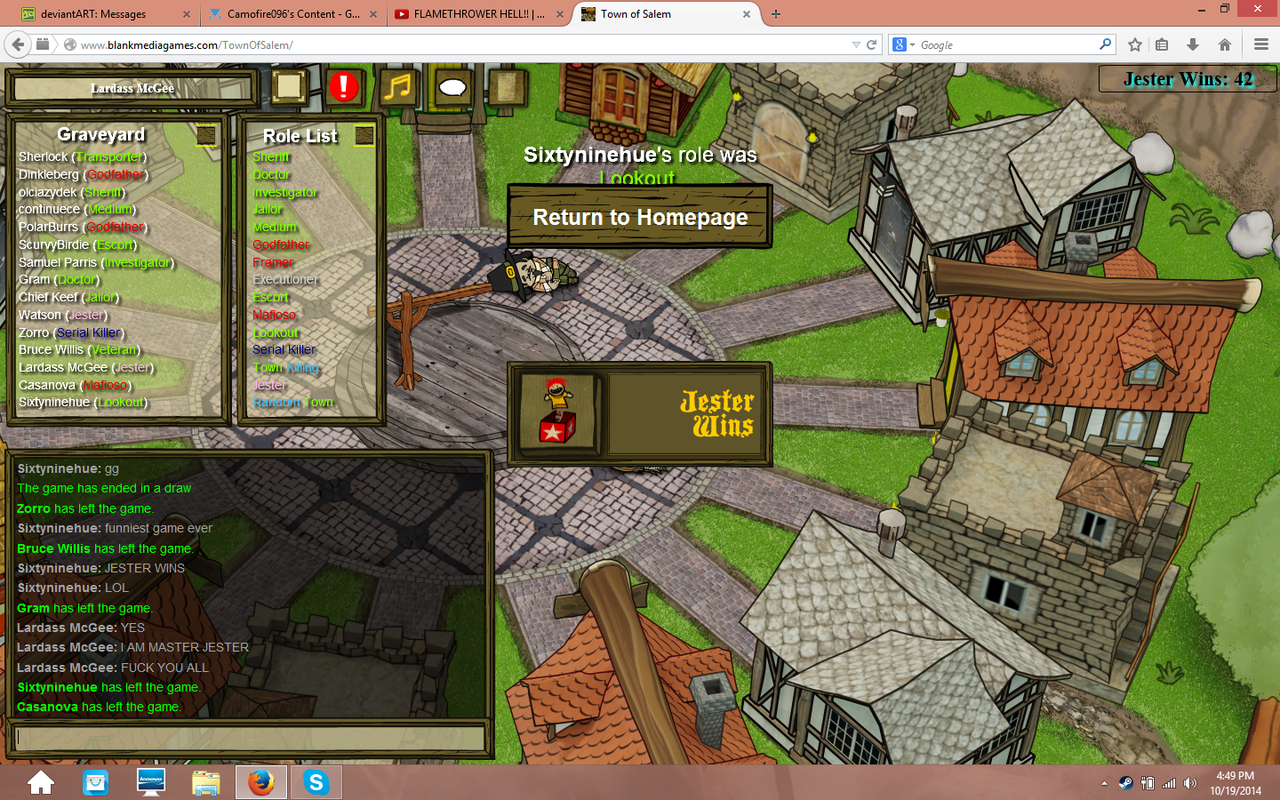 Funny Wills Town Of Salem Won As The Jester Town Of Salem By