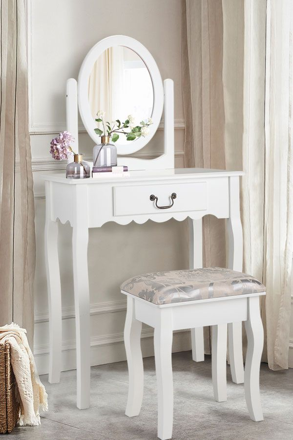 Mirrored Vanity Table And Stool: White Mirrored Vanity Makeup Dressing Table Stool Set