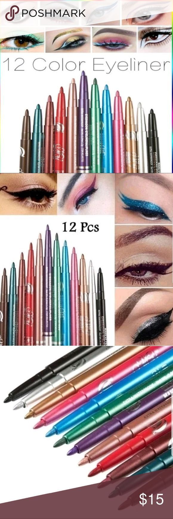 12 pcs high quality waterproof colorful eyeliner Type: Eyeliner Benefit: Long-la... 12 pcs high qua