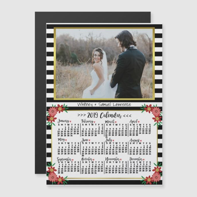 2019 Year Calendar Preppy Floral Stripes Photo Watercolor Themed