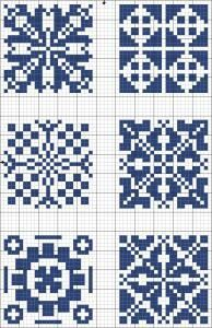 Blue tiles 02 | Free chart for cross-stitch, filet crochet | Chart for pattern - Gráfico