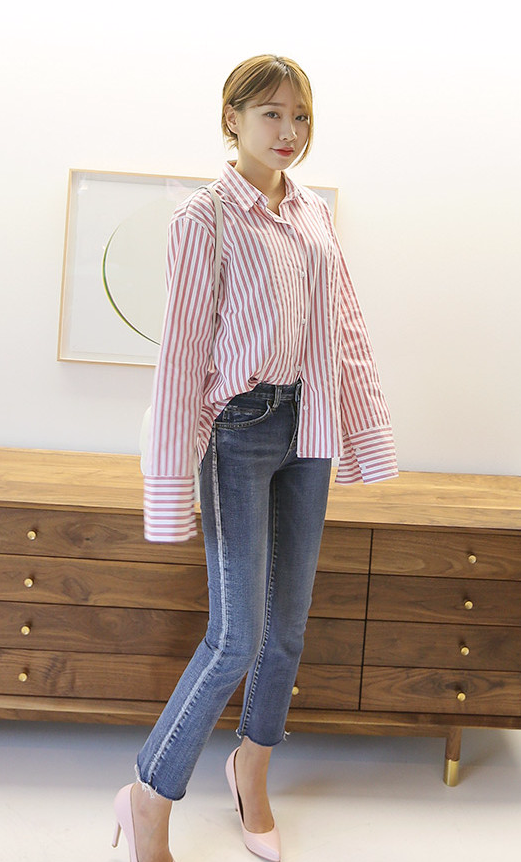 Half tuck this stripe shirt for full on style!  d0a8832b9