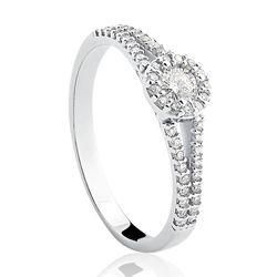 Solitario Ouro Branco E 50 5 Pontos De Diamantes Com Imagens