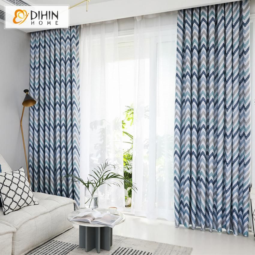 Dihin Home Nortic Striped Printed Curtains Blackout Grommet Window
