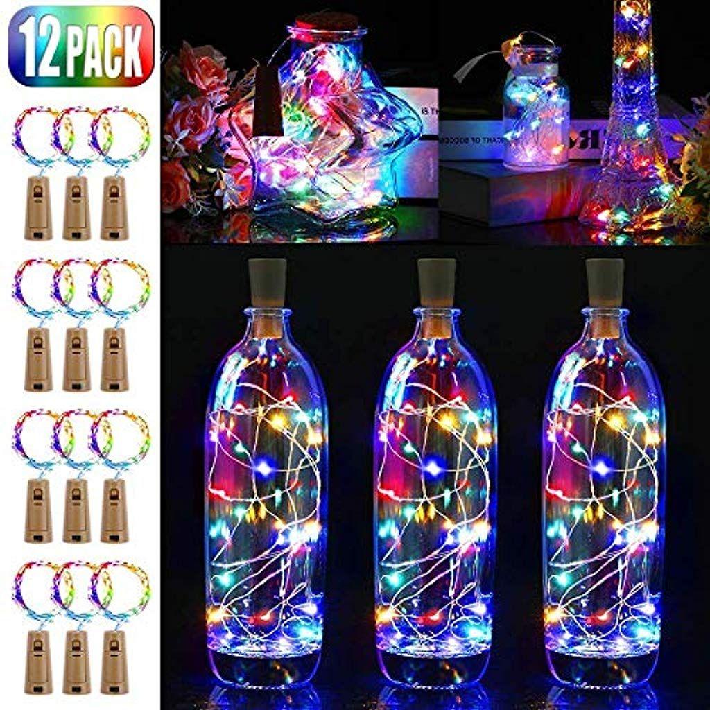 Hochzeit Deko Weihnachten 16 St/ück Flaschen-Licht JRing 20 LEDs 2M Flaschenlicht Mehrfarbig Lichterkette korken Stimmungslichter Weinflasche Nacht Licht f/ür Flasche DIY Garten Party Halloween