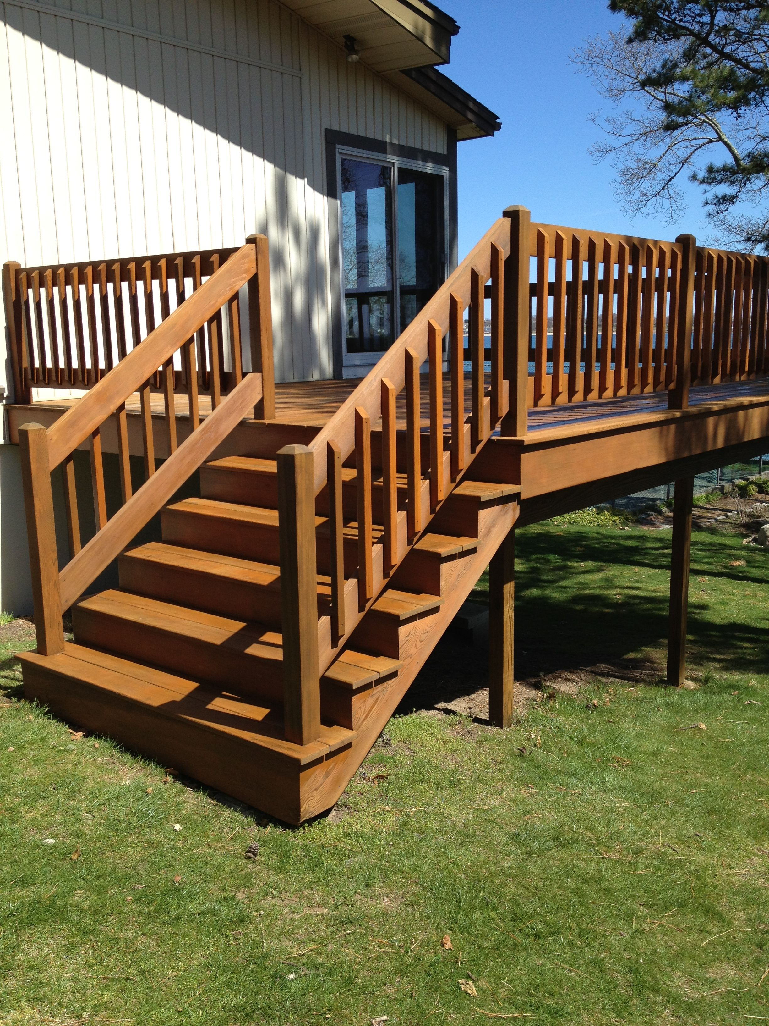Best Cedar Deck Refinished Armstrong Clark Staining Deck 640 x 480