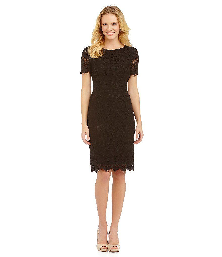 Preston York Felicia Short Sleeve Lace Sheath Dress Dillard S Dillards Dress Cocktail Dress Lace Scalloped Lace Dress [ 1020 x 880 Pixel ]