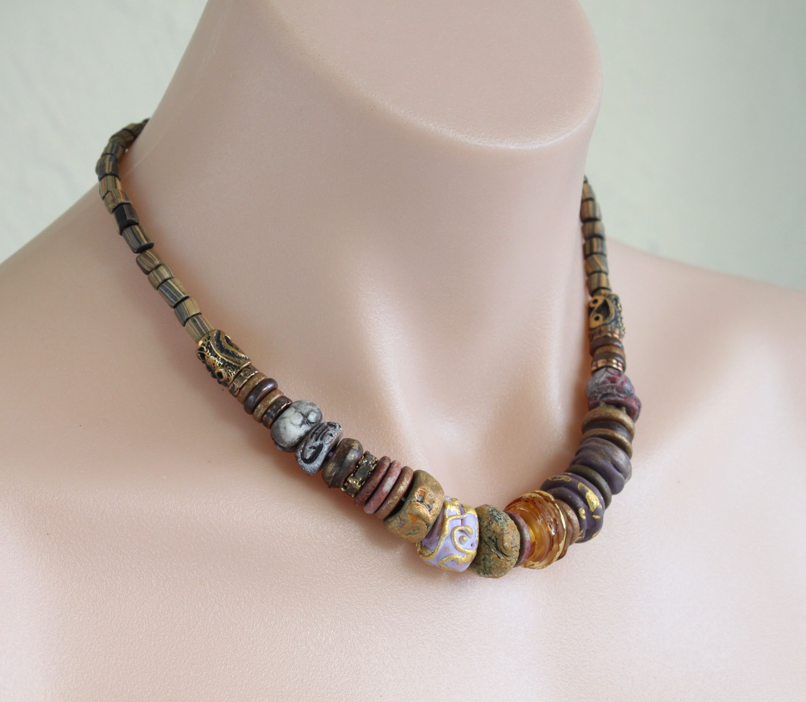Artisan ceramic, lampwork and bronze necklace / Purple and earth tones / One of a kind / Rustic Tribal Artisan Boho / 'Ancient talisman'