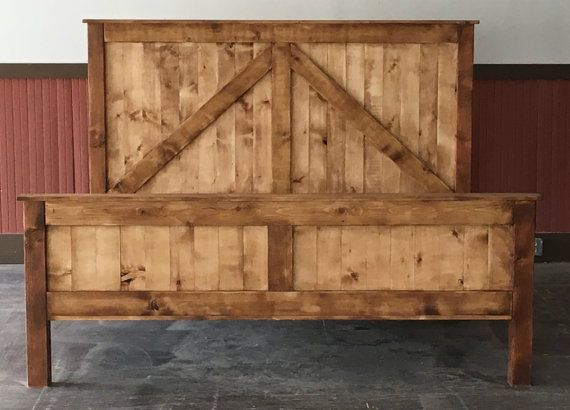 Rustic king size farmhouse bed w platform for Diy rustic bunk beds
