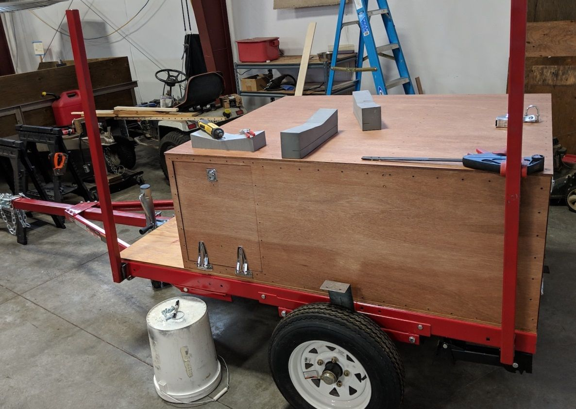 Brock S Diy Explorer Box Camping Trailer Made From Lightweight Beautiful Okoume Marine Grade Plywood Coming Together Camping Trailer Camping Tent Accessories