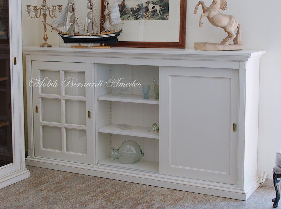 Credenza Bianca Con Ante Scorrevoli : Credenza con ante scorrevoli in legno finitura bianco anticato