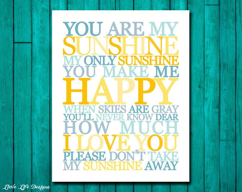 You Are My Sunshine Wall Art. Childrens Nursery Decor. You Are My ...