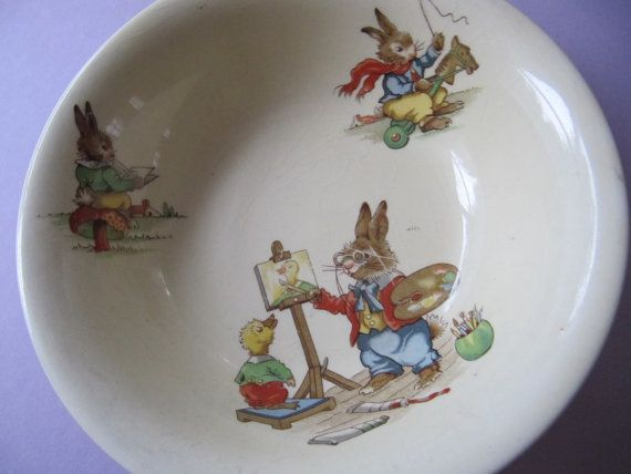Bunny S Playtime Porcelain China Bowl Made By Pinkbirdhousevintage China Bowl Bunny Painting China Porcelain