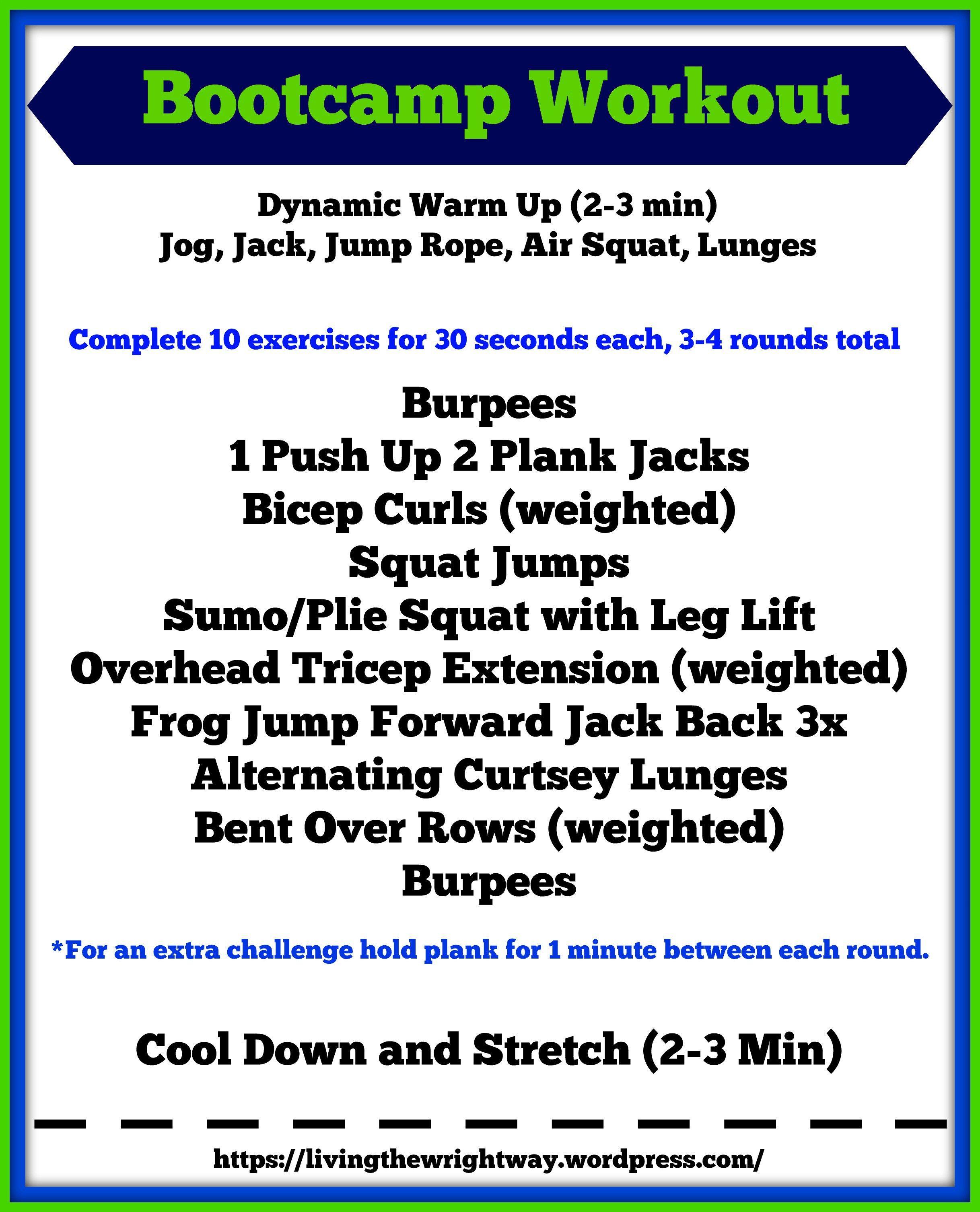 Boot Camp Workout | Workout | Boot camp workout, Gym ...