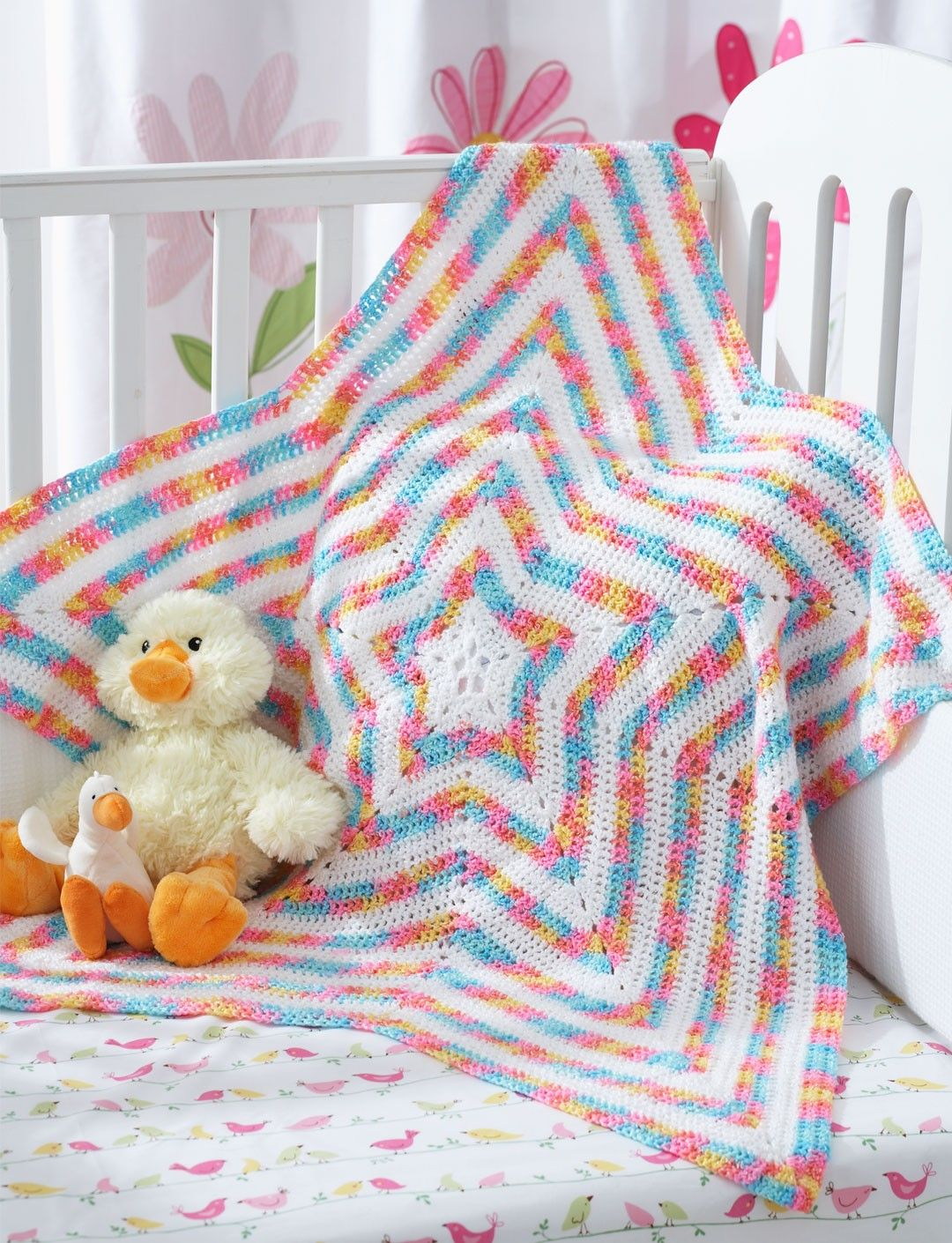 Free crochet pattern: Star Blanket by Yarnspirations | Crochet Motif ...