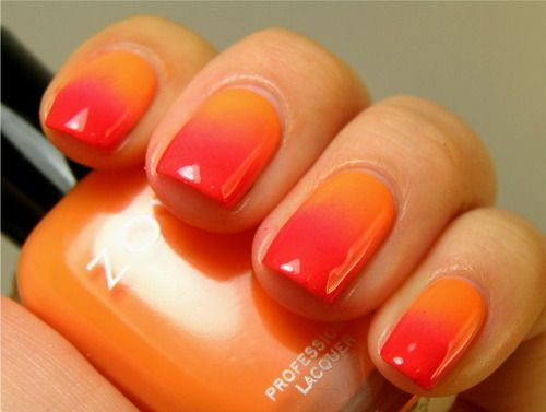 Dark To Light Orange Ombre Faded Nails Ombre Nails Orange Nails