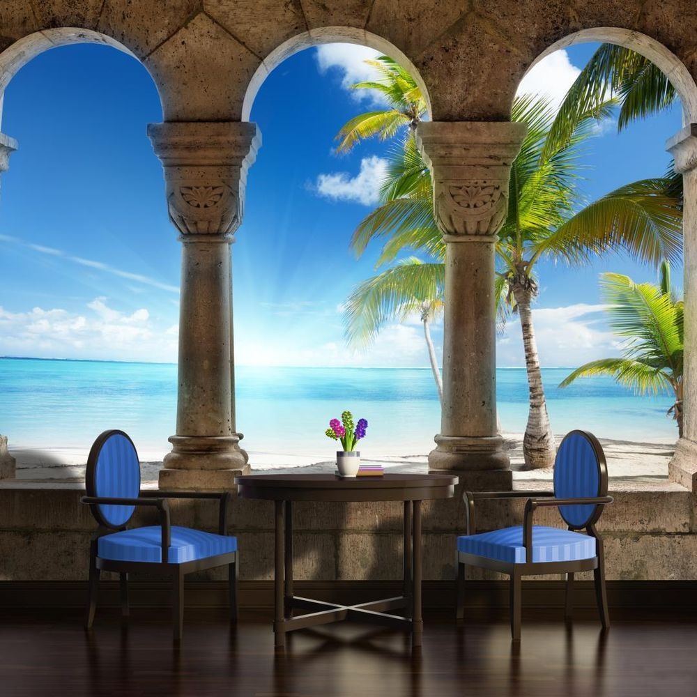 Beach View Through Arches Photo Wallpaper Wall Mural (CN